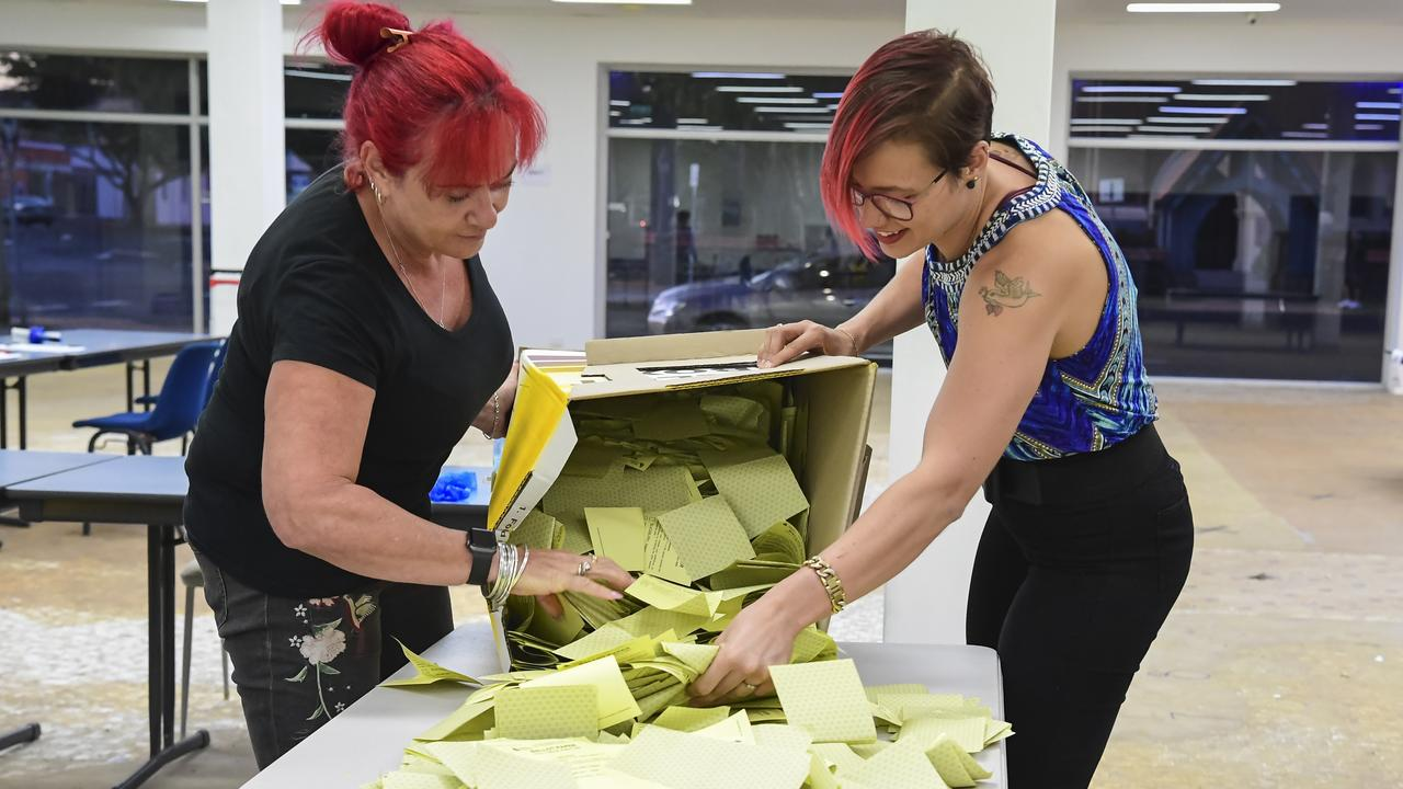 Nina Cappola and Kayla Chamberlain empty the ballot box prior to counting on election night. Picture: Brian Cassidy.