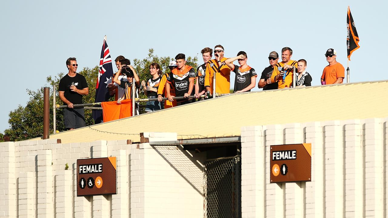 Black and Gold, never fold: Wests Tigers fans stick solid. Picture: Getty