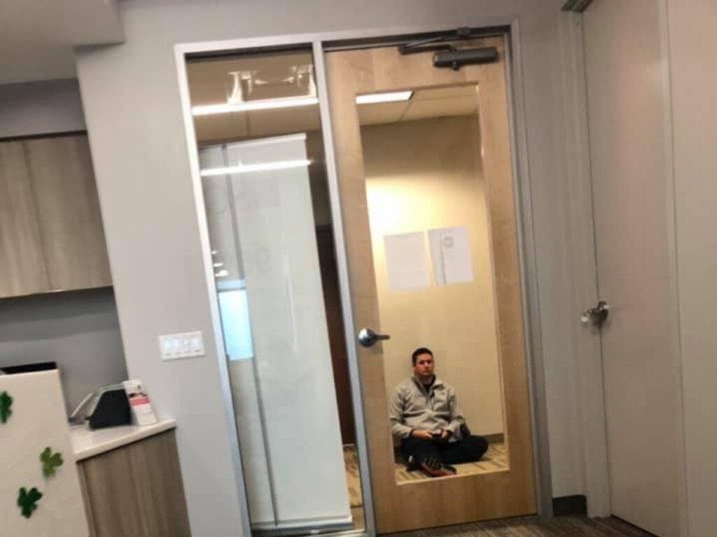 Sarah took this photo of Jared as he sat outside the room after learning about their loss. Picture: Picture: Sarah Gliem/Sweet Grace Ministries