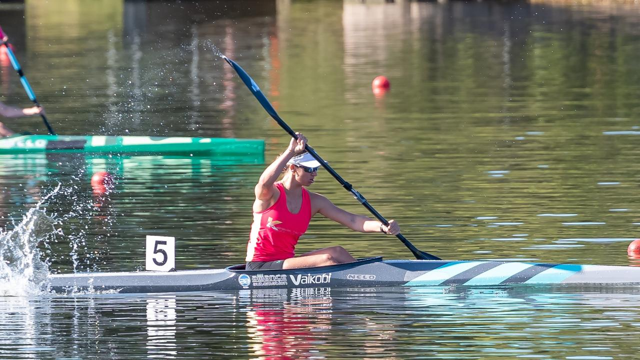 ALL THE WAY TO THE LINE: Jenaya Massie in action. Picture: Paddle Australia.