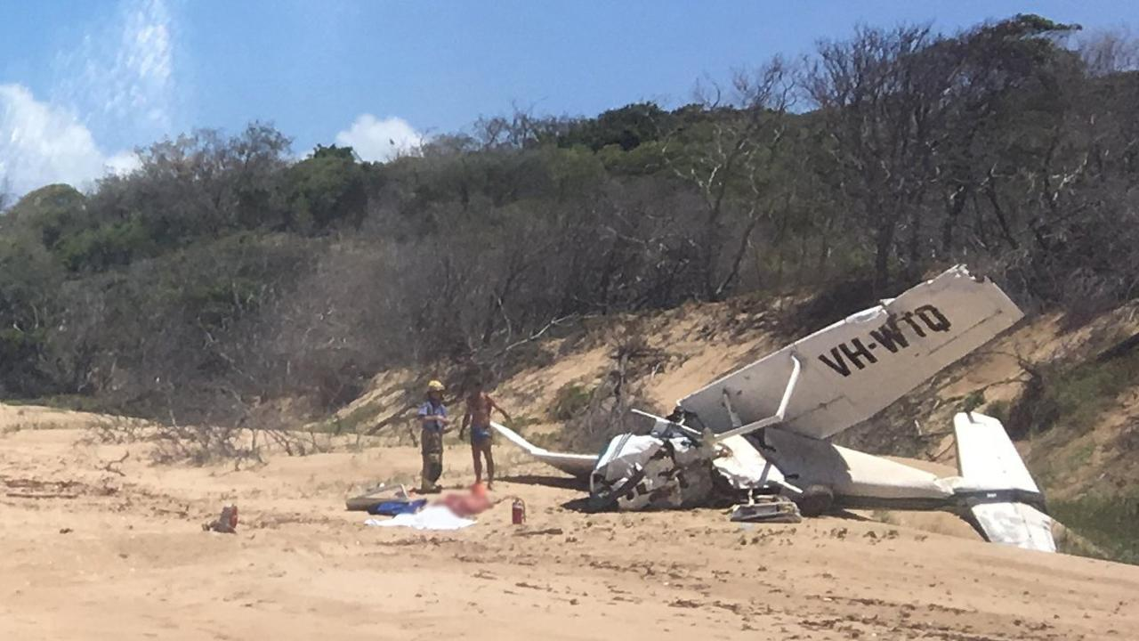WRECKAGE: One person died and three hospitalised after a light plane crashed at Bustard Head, north of Middle Island. Photo Courtesy RACQ LifeFlight RescuePhoto Contributed