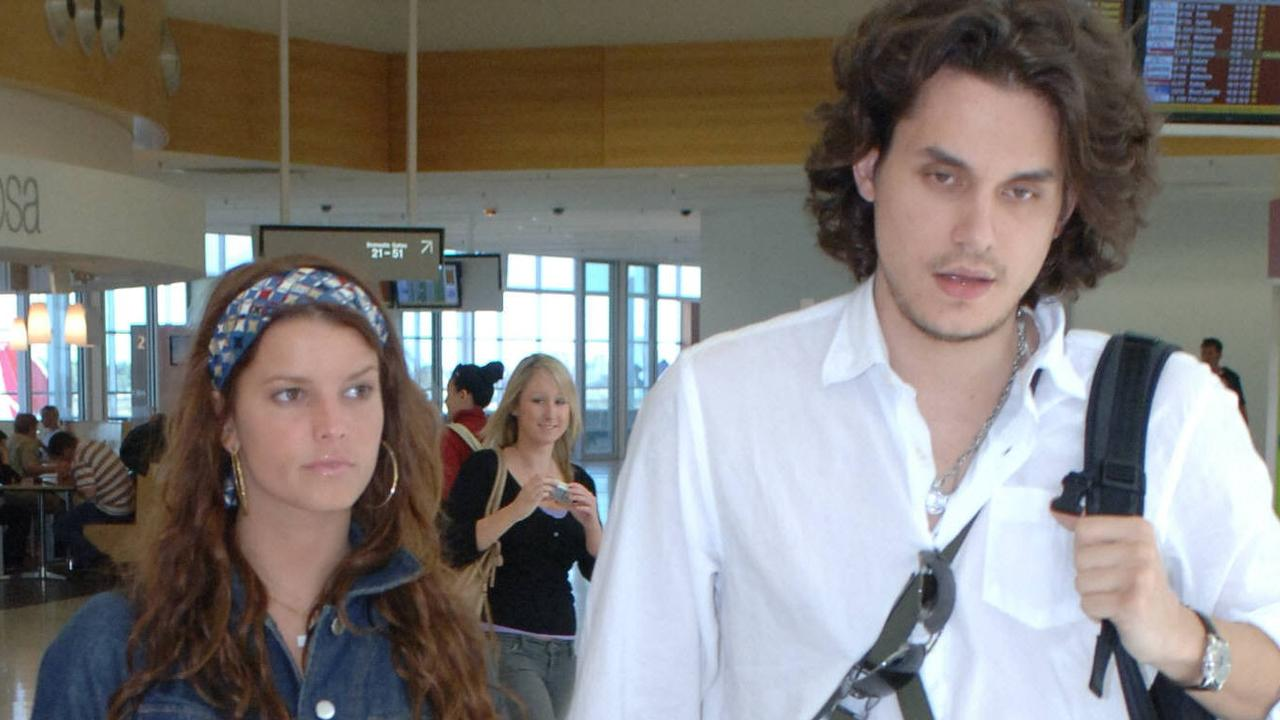 Singer Jessica Simpson with John Mayer arriving at Adelaide airport.