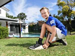 Billy Whyte, 10, ran 43km at home yesterday while
