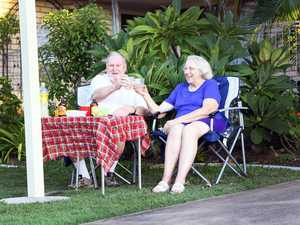 Socially distant street party - Wilma and Ron Wardell