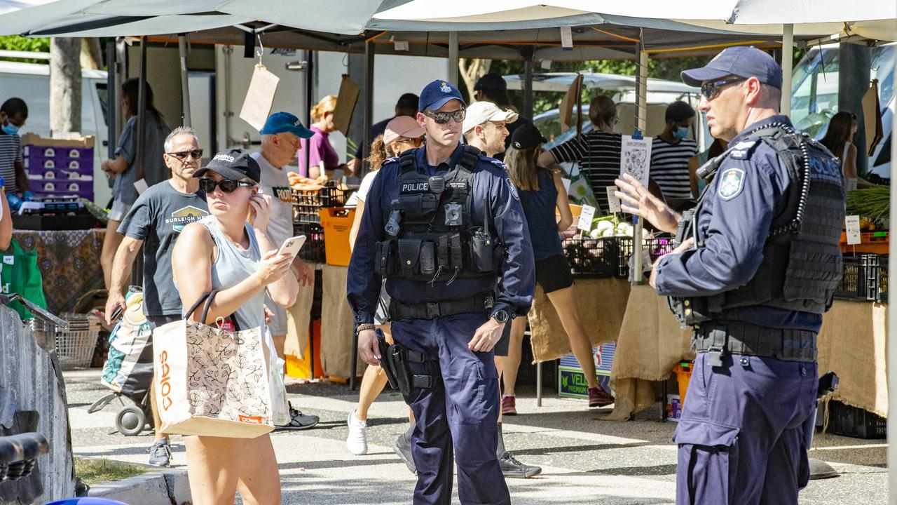 The Queensland Police public safety response team were called to the Jan Power Powerhouse Farmers Markets. Picture: Richard Walker