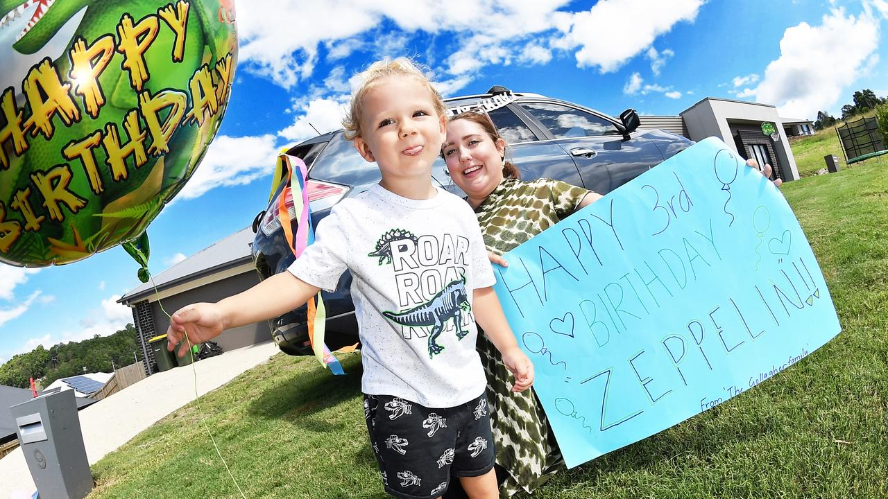 HAPPY BIRTHDAY: Nambour mum Emily Mumford organised a drive by party for her three-year-old Zepplien Rothwell. Photo Patrick Woods