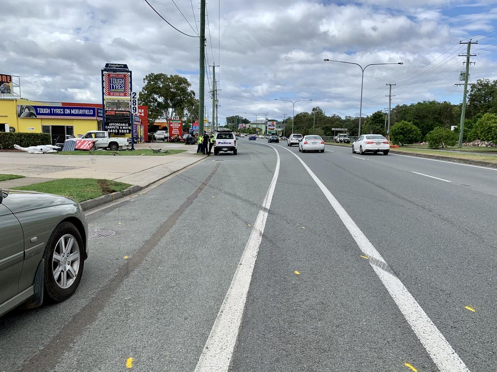The scene of a traffic crash at Morayfield where two cyclists were critically injured. Picture: Isabella Magee
