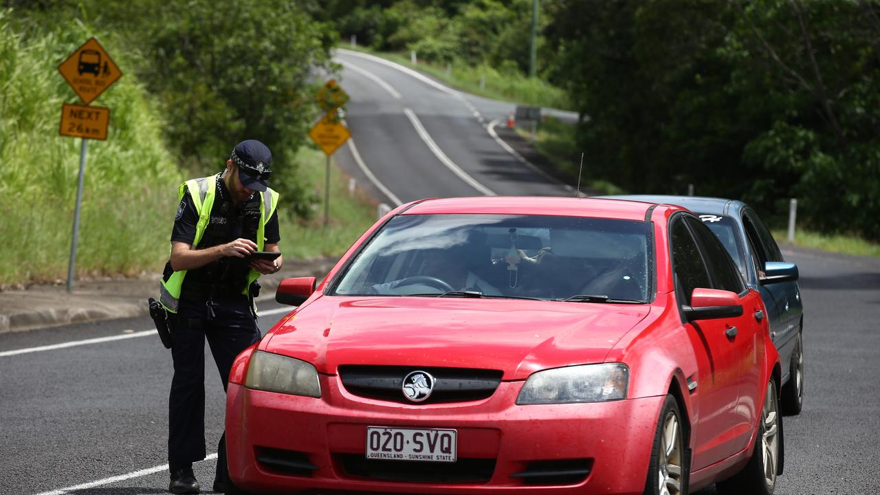 Queensland Police have set up a roadblock on Pine Creek Yarrabah Road, and are only allowing residents and essential services into the indigenous community to help slow the spread of coronavirus. PICTURE: BRENDAN RADKE