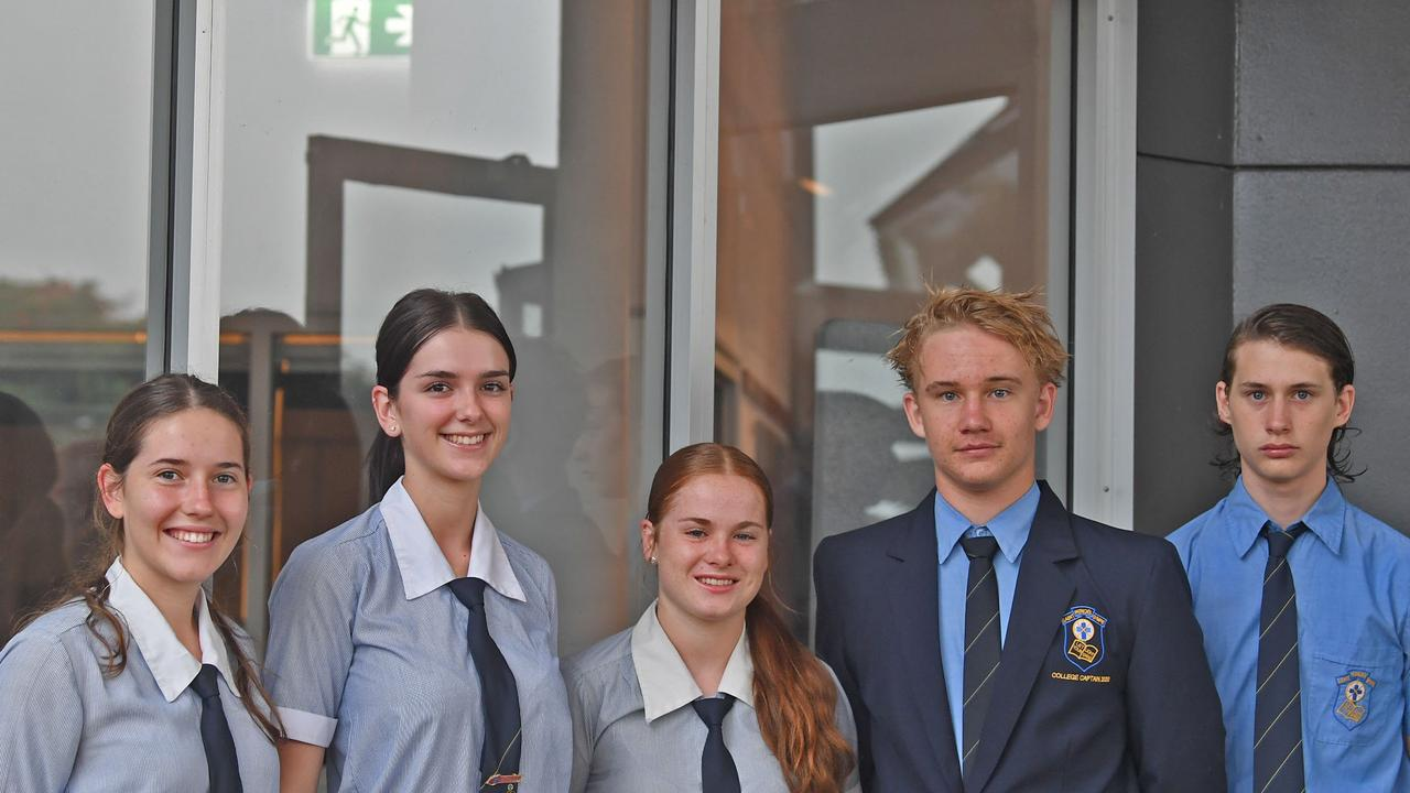 St Patrick's College senior students Lilli Crumblin and Ivy Dugdale (second and third from right) have spoken of the challenges involved with working from home. Picture: Shane Zahner