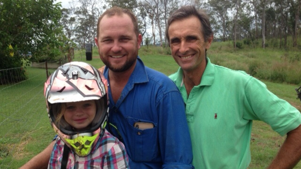 THANK YOU FIREYS: Abbey Myles with firemen Kurt Myles and Glenn Grey. Picture: Contributed