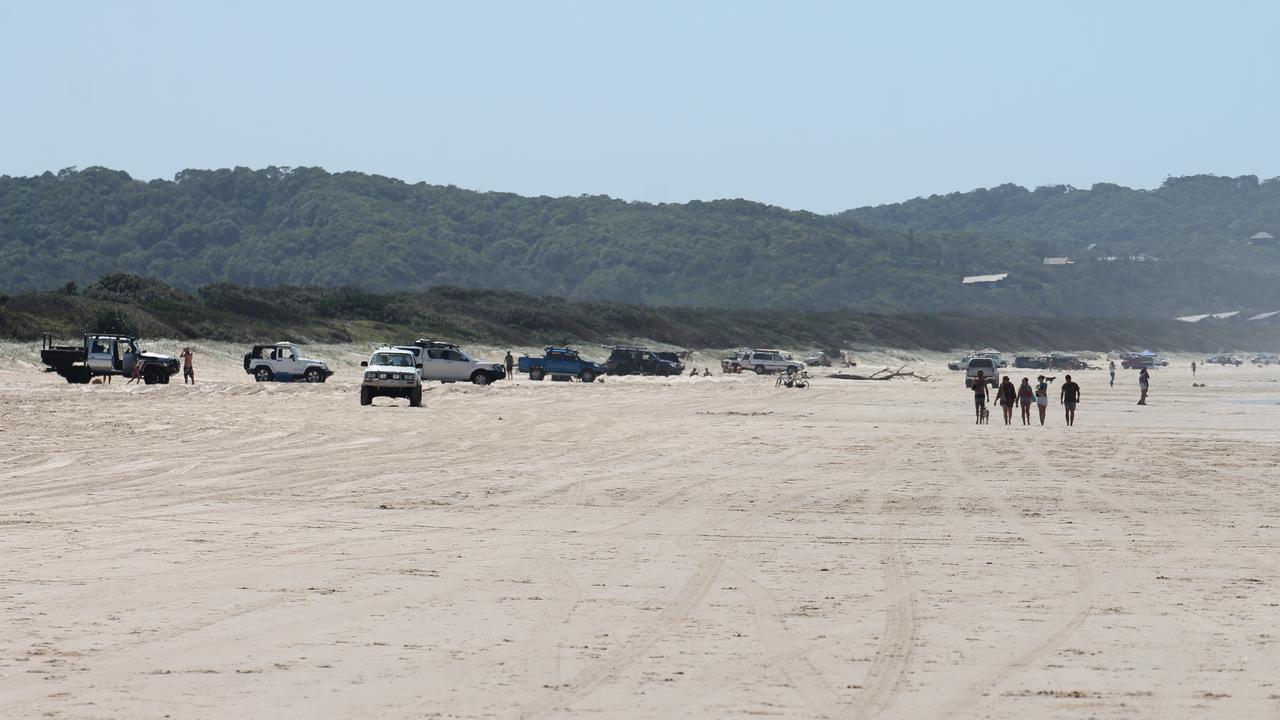 Four-wheel-drives on Seven Mile Beach at Lennox Head on Sunday.