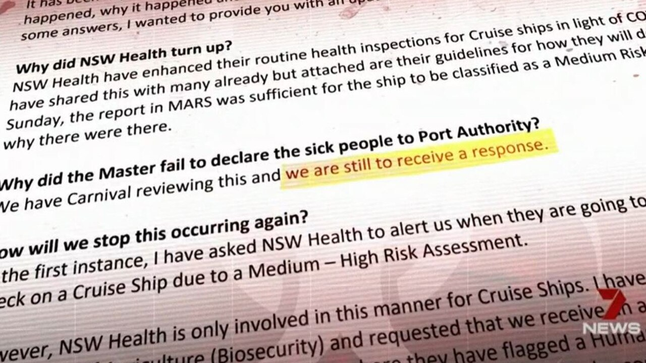 "Emails revealed to Seven News show the Port Authority are ""yet to receive a response""."