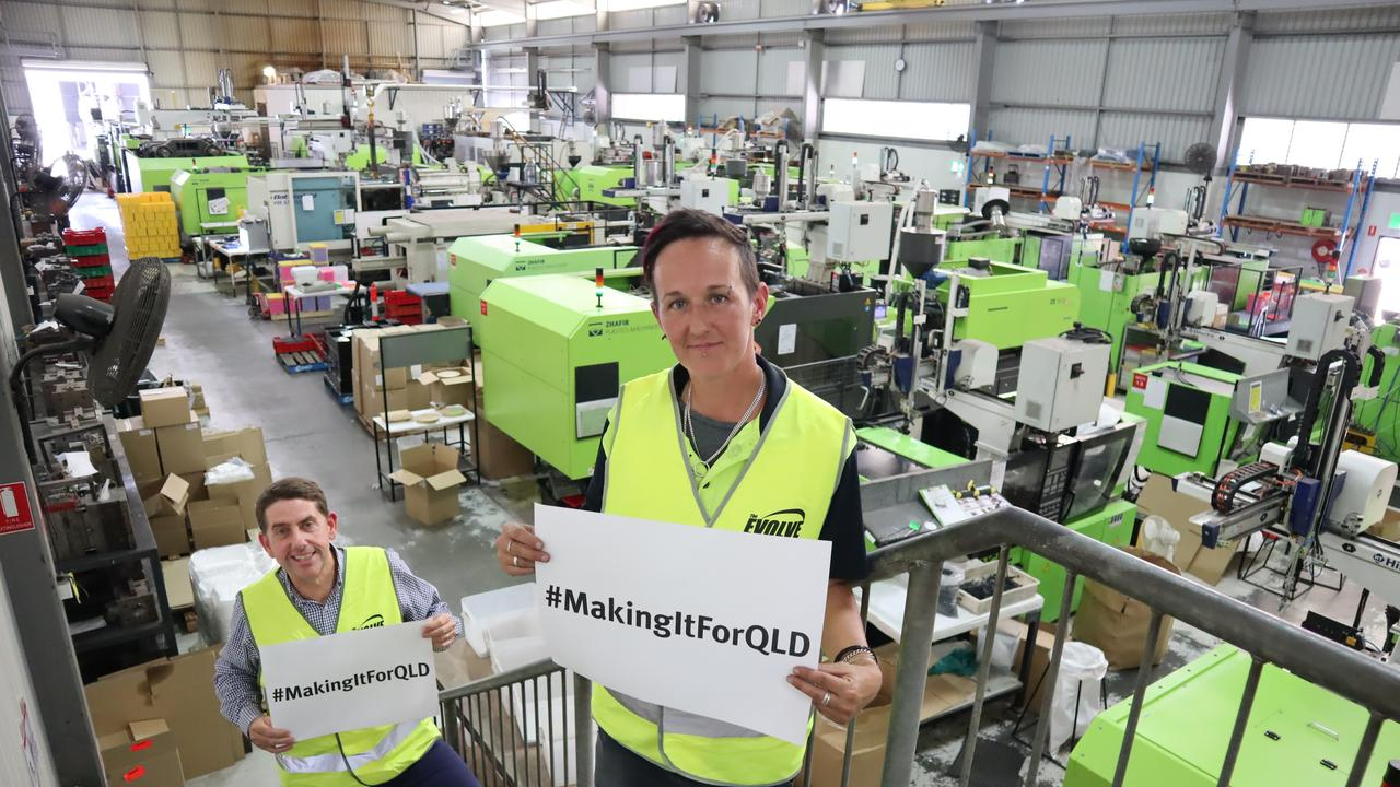 State Development Minister Cameron Dick launches the new campaign #MakingItForQld with Evolve Group's Kylie Andison.