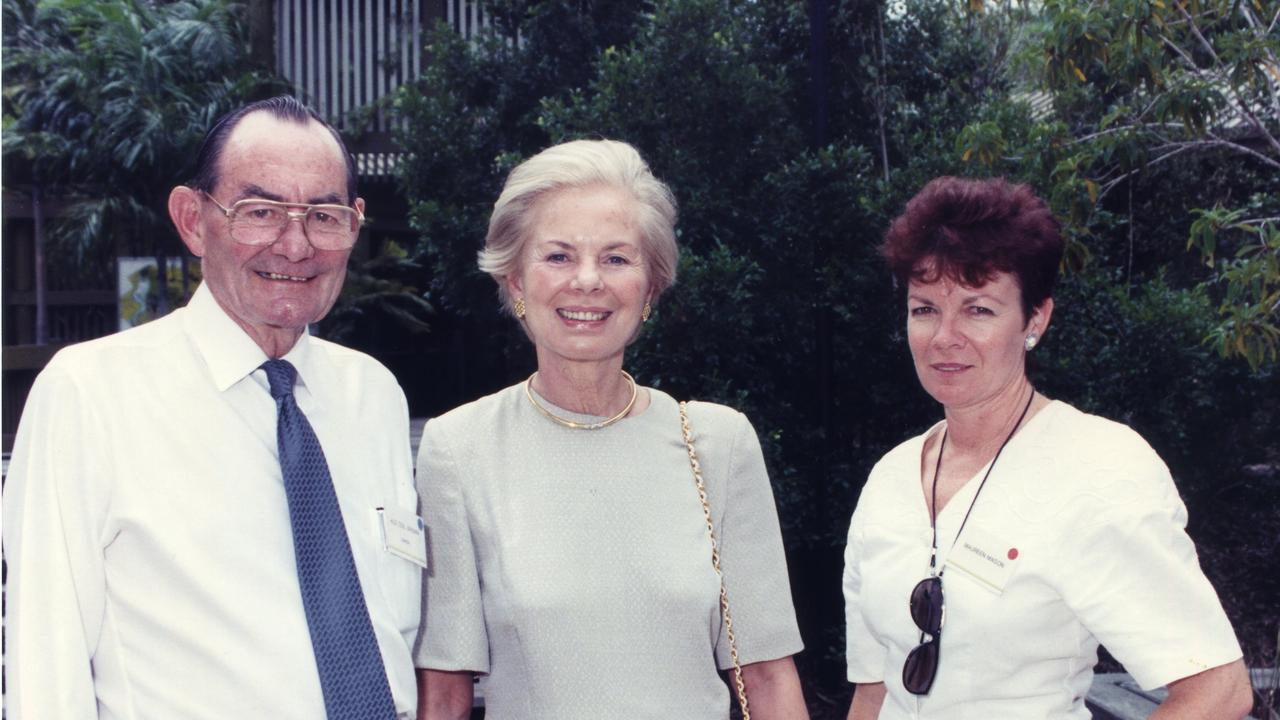 Maureen Mason's career of more than 40 years with council has been recognised with the keys to Gladstone. Maureen (right) is pictured here with former Gladstone mayor Colin Brown and the Duchess of Kent on February 27, 1992.
