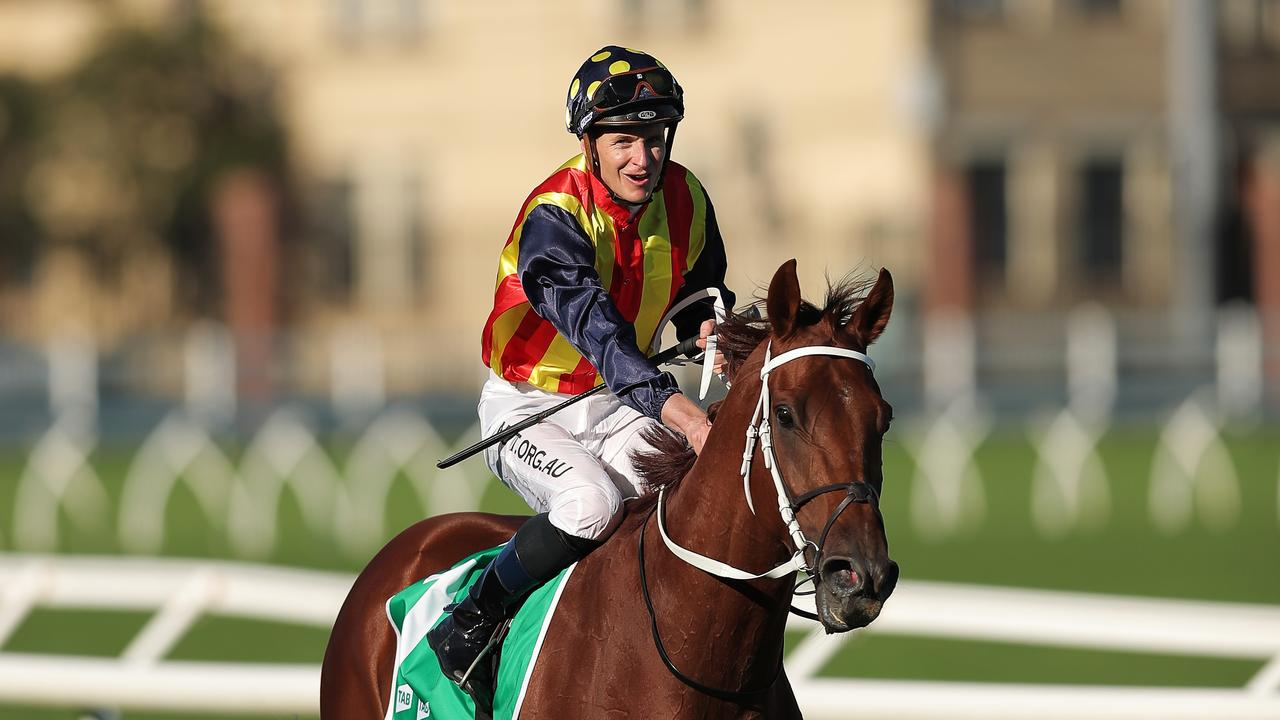James McDonald returns Nature Strip to scale after winning the TJ Smith Stakes. Picture: Matt King/Getty