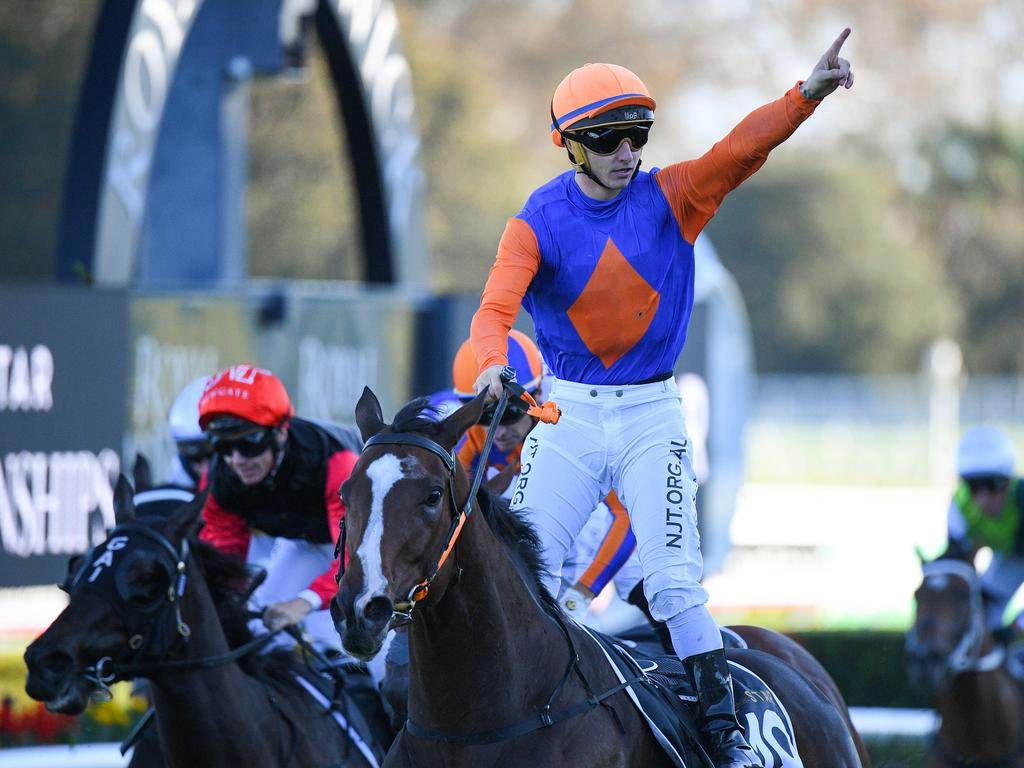 Jockey James Innes Jnr after riding Nettoyer to victory in the Doncaster Mile. Picture: AAP/Dan Himbrechts