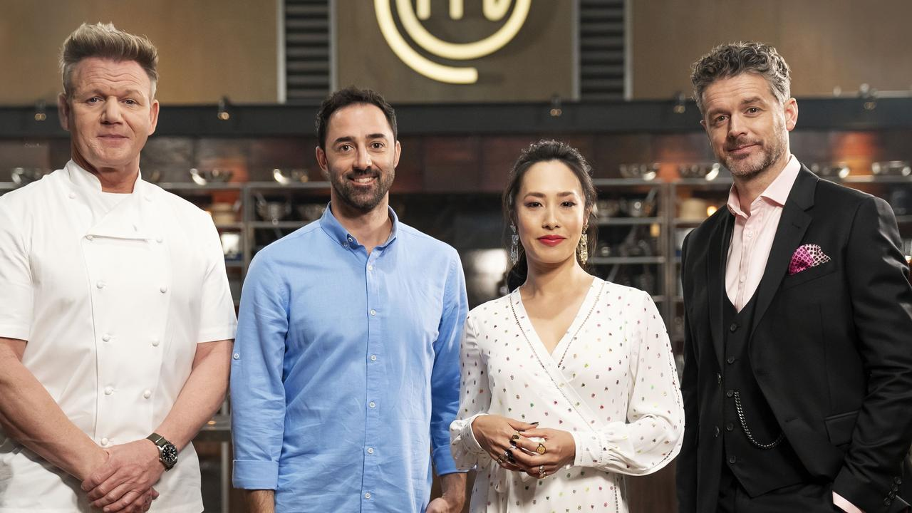 Guest chef Gordon Ramsay with MasterChef Australia judges Andy Allen, Melissa Leong and Jock Zonfrillo.