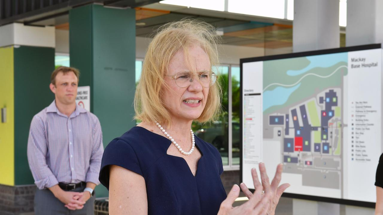 Queensland Health Steven Miles and Queensland Chief Health Officer Dr Jeannette Young speak at a press conference at the Mackay Base Hospital on Friday. Picture: Tony Martin