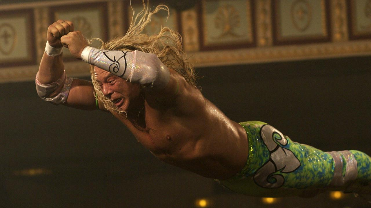 Mickey Rourke launches from the turnbuckle in 'The Wrestler'.