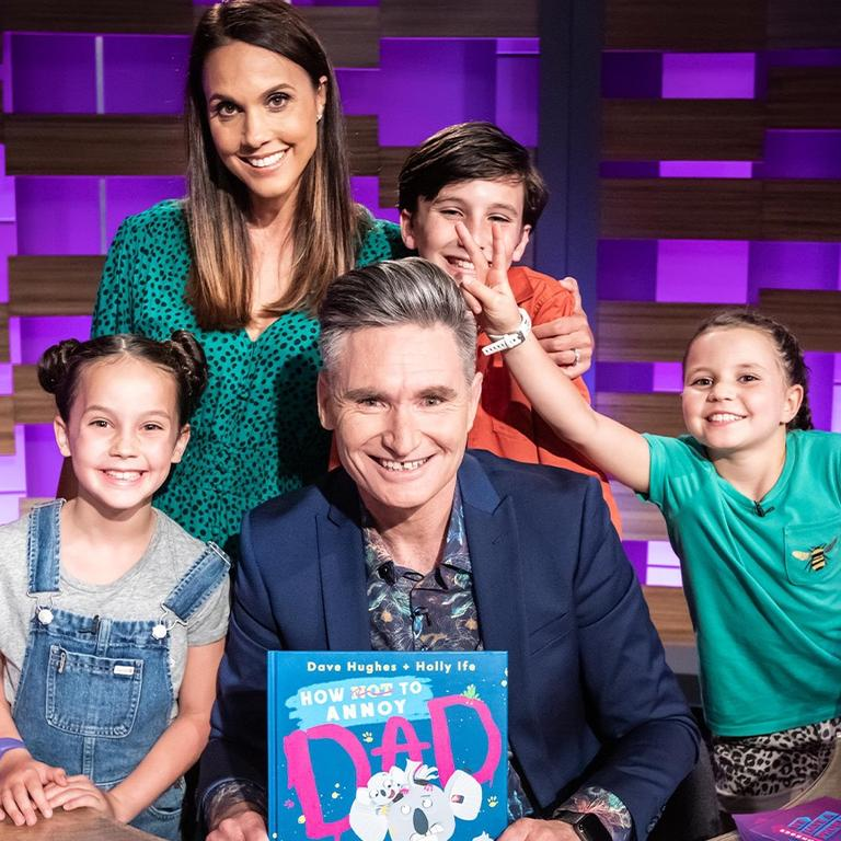 Dave Hughes with his wife Holly and their kids L-R: Tess, Rafferty and Sadie. Picture: Ten