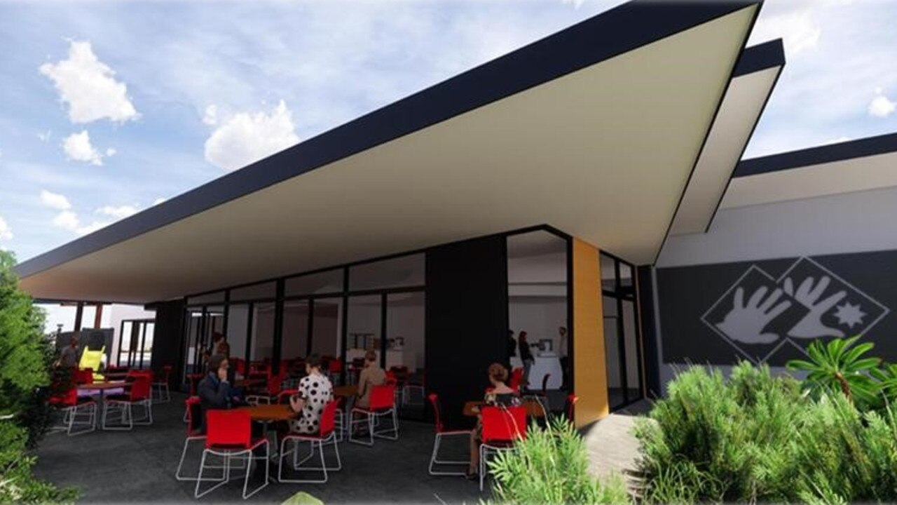 Designs of the cafe area at Australian Workers Heritage Centre's new entrance building in Barcaldine.