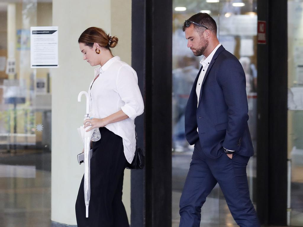 Gary Jubelin's daughter Jemma and son Jake leaving court during their father's trial. Picture: Nikki Short