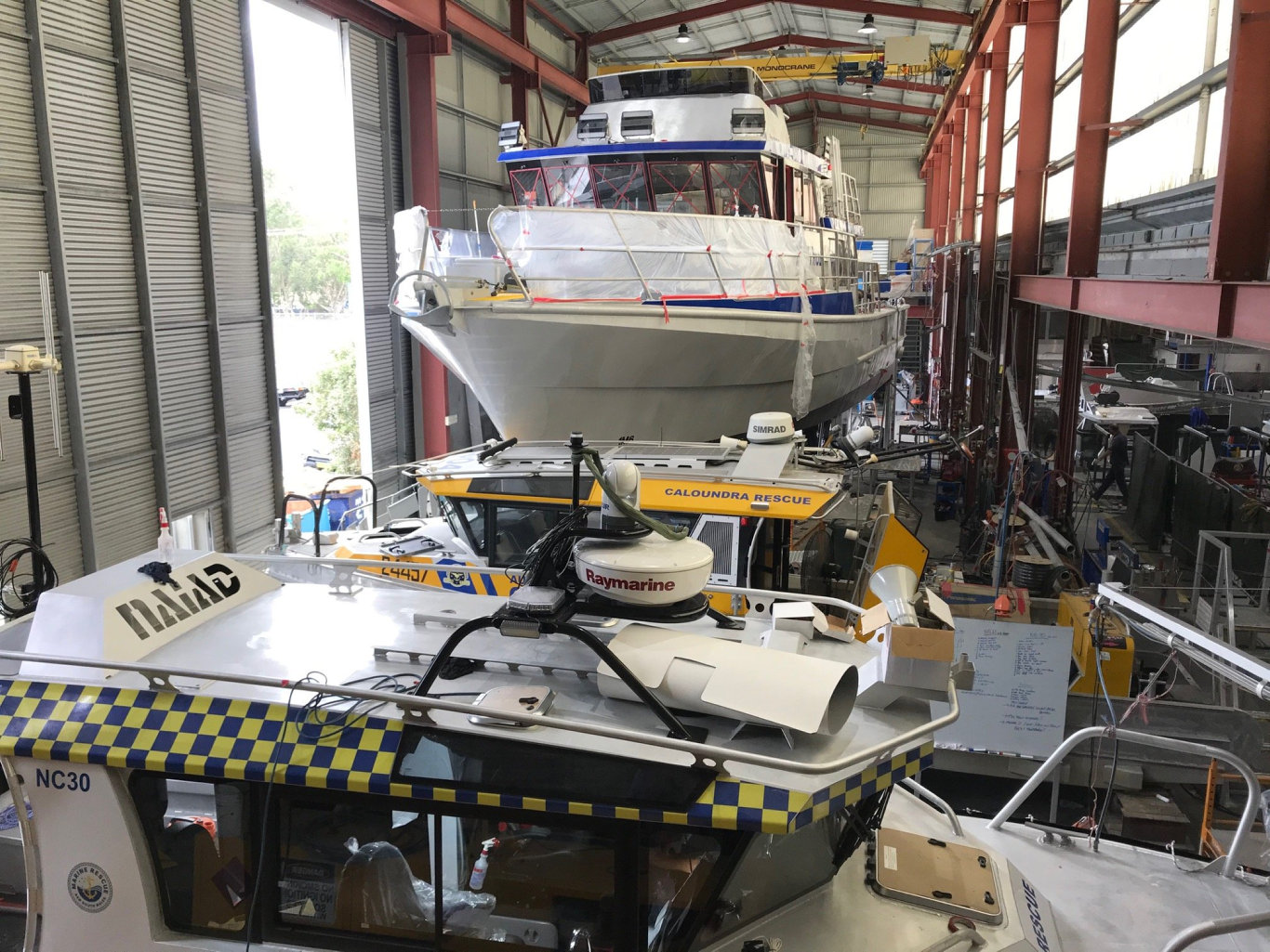 Construction of a marine vessel nears completion at Yamba Welding & Engineering.