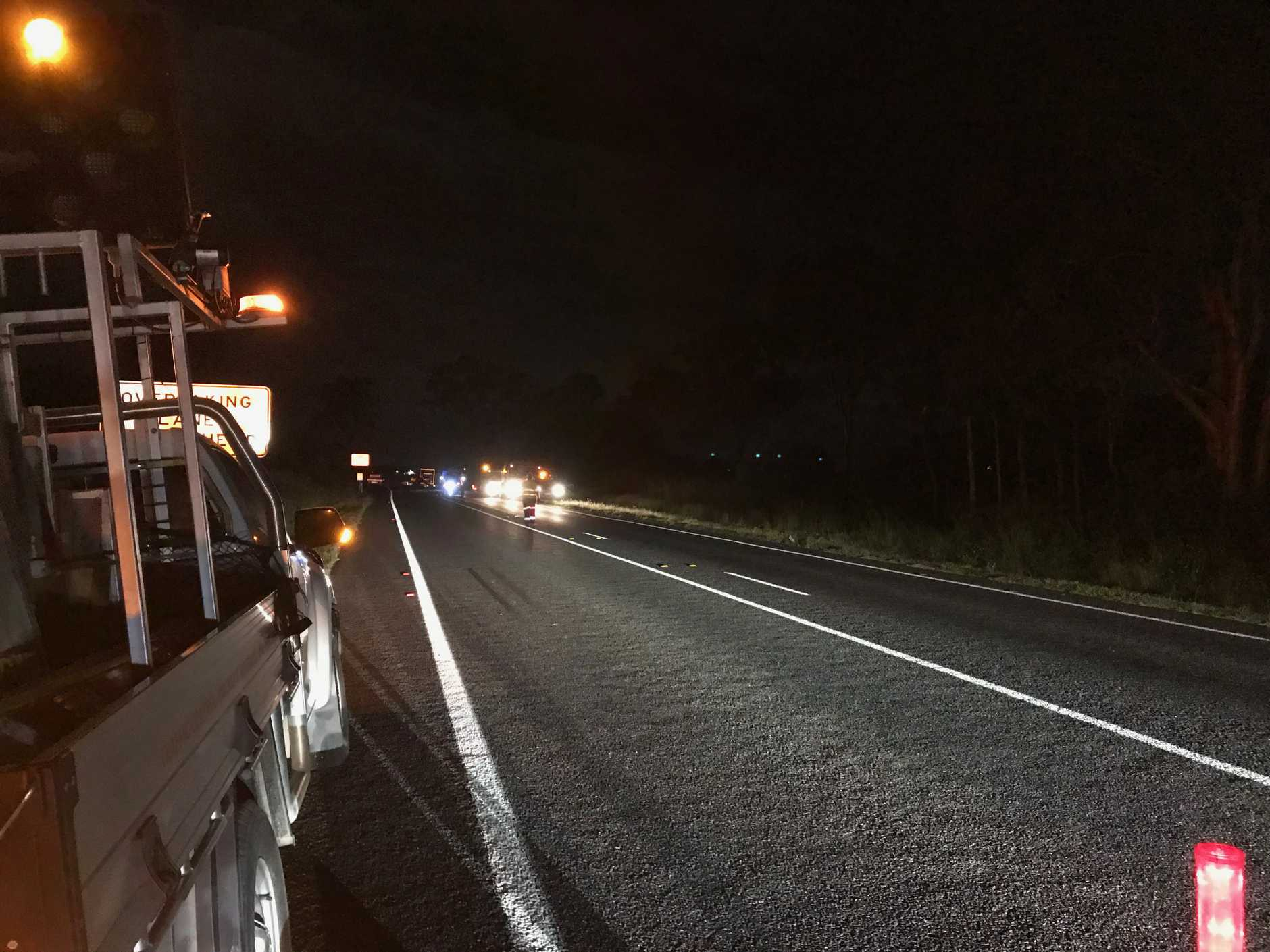 Emergency services attended a fiery car crash on the Bruce Highway near The Leap.