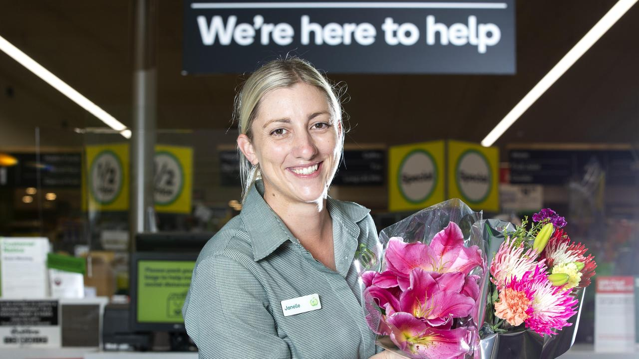 Frontlines during COVID-19 crisis. Burpengary Woolworths Fresh manager Janelle Weeks poses for a photograph at the store. Friday, April 3, 2020. (AAP Image/Renae Droop)
