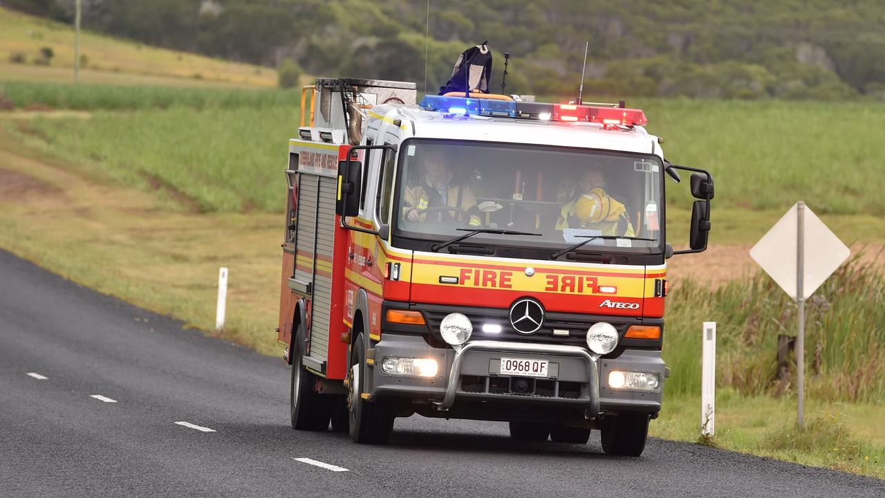 Queensland Fire and Emergencies services are on scene where a hay baler has caught alight.