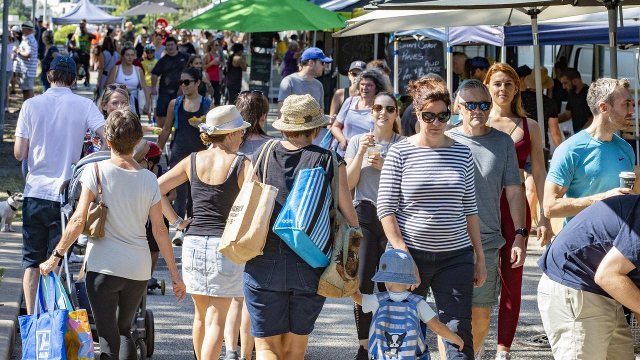 There were big crowds at the Powerhouse Markets in Brisbane. Picture: Richard Walker