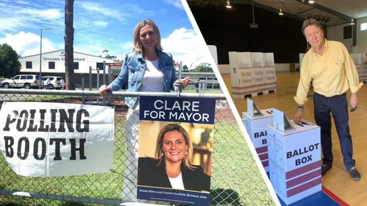 HEAD TO HEAD: Noosa mayoral candidates Clare Stewart and Tony Wellington. Photo: Caitlin Zerafa
