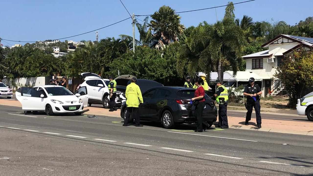 The crash on Bundock St on October 30 2018 where Watson was taken into custody after a car-jacking.