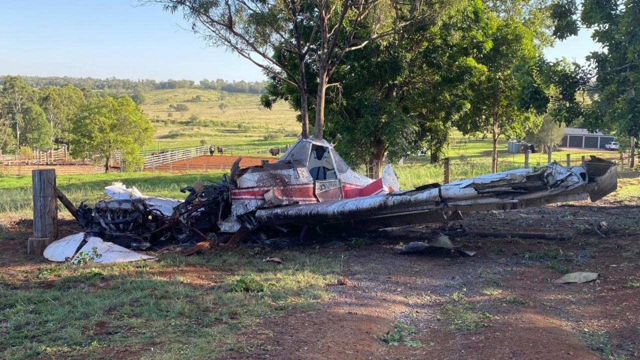 LUCKY ESCAPE: A pilot has been fortunate to survive after crashing his crop duster into a paddock at Corndale on Sunday morning at 6.30am. Photo: Courtesy RACQ LifeFlight Rescue