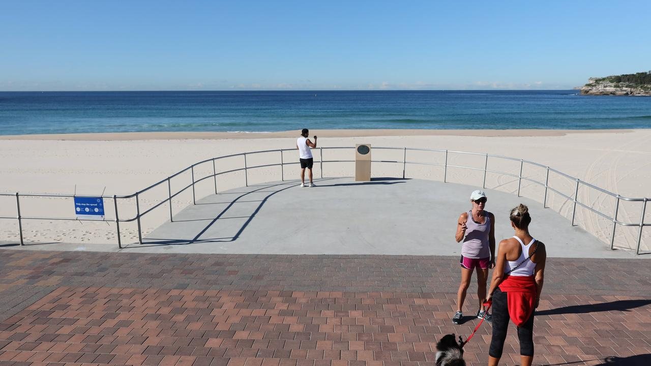 An empty Bondi Beach. The popular Sydney beach is part of Waverley's local government area and has some of the state's highest coronavirus cases.