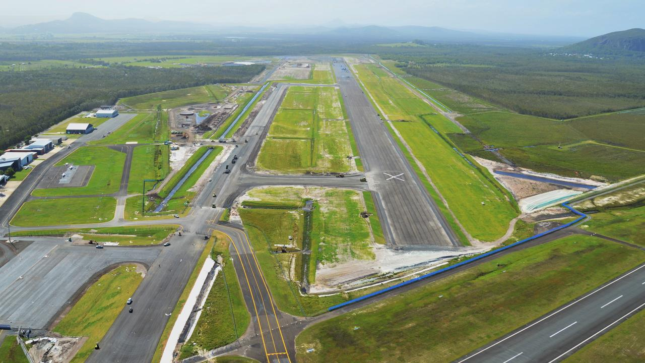 Aerial photo of the new international runway, under construction as part of the Sunshine Coast Airport's Expansion Project.