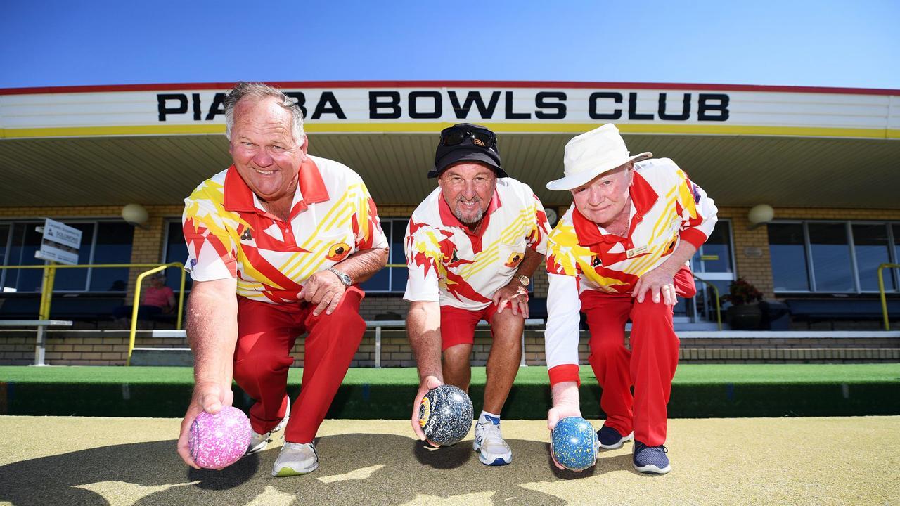 Pialba Bowls Club - Trevor Allwright, Geoff Westall and John Walker having a roll in 2019.
