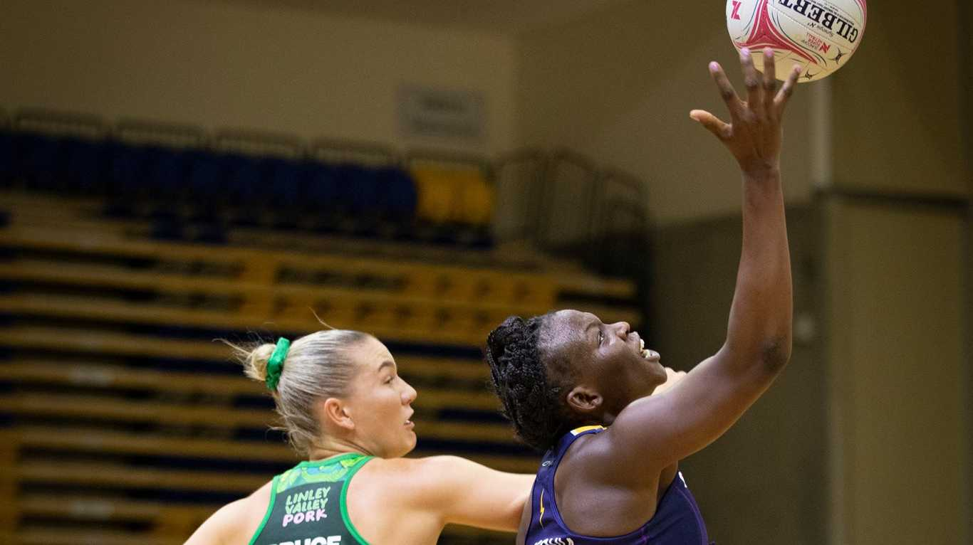 Sunshine Coast Lightning's Peace Proscovia in action during the practice game against West Coast Fever.