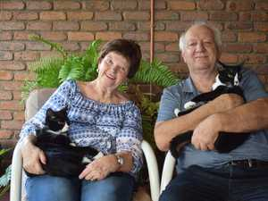 Ruth and Robert Turner with their new cats Buddy and
