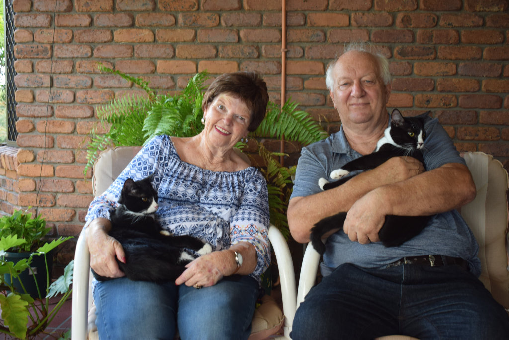 Image for sale: Ruth and Robert Turner with their new cats Buddy and Tosh, April 6 2020