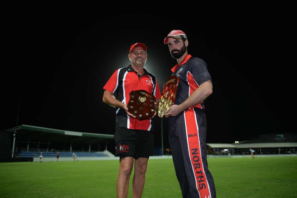 Image for sale: Northern Suburbs' 1st and 2nd grade captains, Peter Shepherd (right) and Troy Newton holding their championship trophies after winning 1st grade and 2nd grade competitions in the T20 Shootout. 02/02/19.