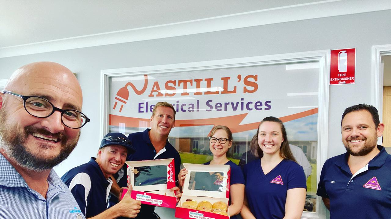 LOCAL BUSINESS: Damien Martoo with the team at Astill's electrical services. (Picture: Contributed)
