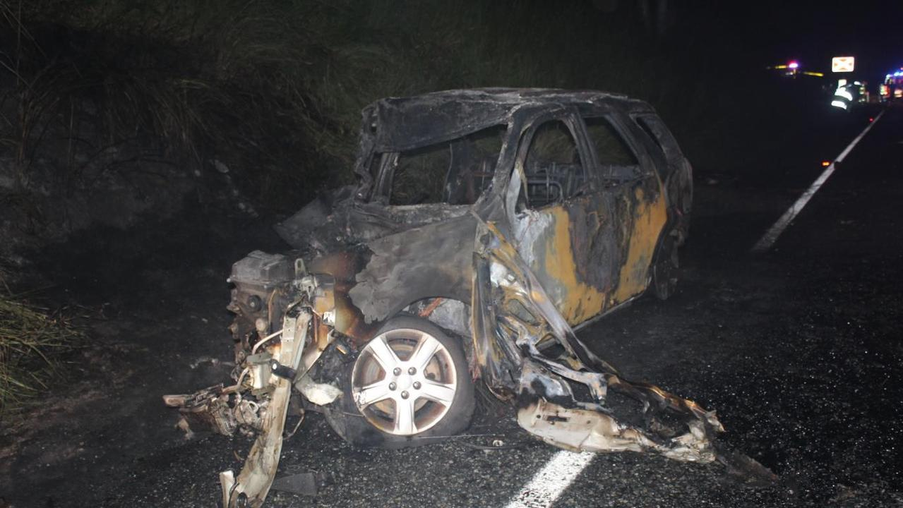 The wrecks involved in a fatal two-car head-on crash on the Bruce Highway at Farleigh, near The Leap, about 6.10pm on Monday, April 6.