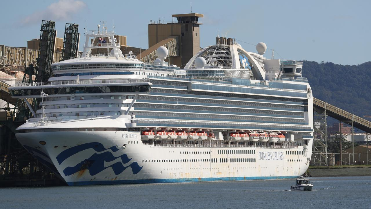 The Ruby Princess docked at Port Kembla has around 200 unwell crew members on board. Picture: John Grainger