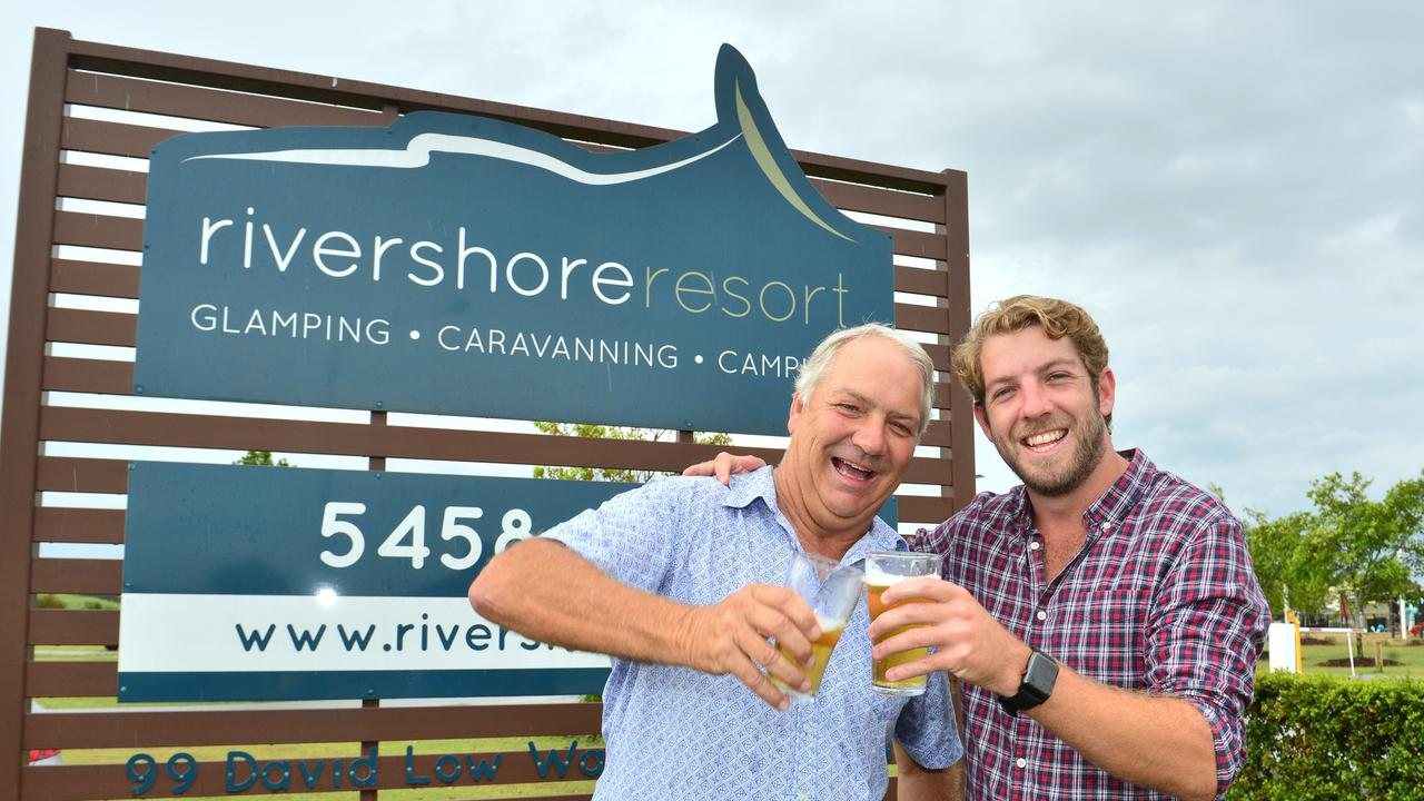 CHEERING: Bernie and his son Will sold Rivershore Resort, in Diddillibah in a very big business deal in 2018.
