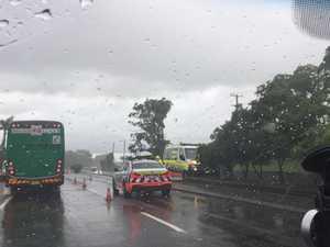 Emergency services attend scene of highway motorocycle crash