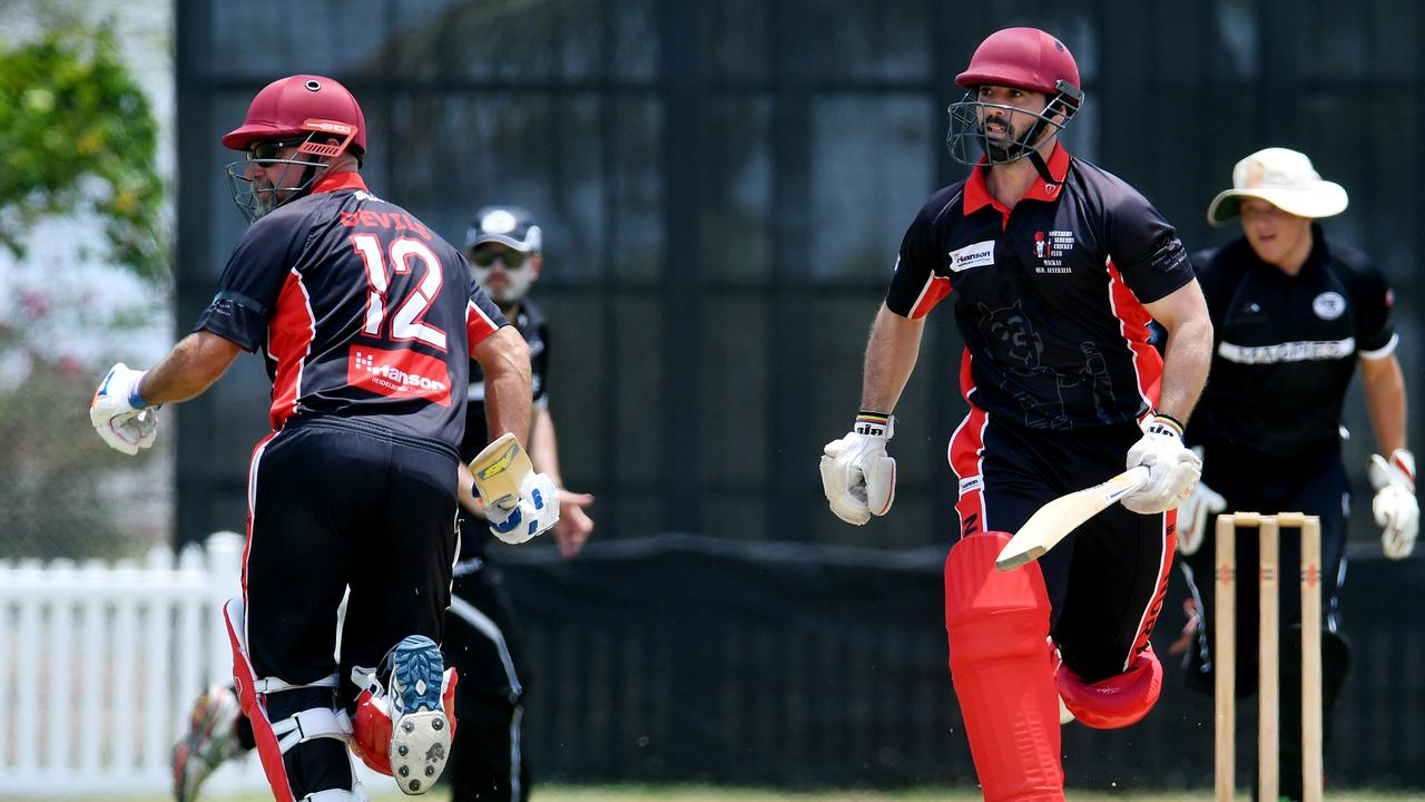 Norths batters Russell English and Peter Shepherd run between wickets against Magpies. Picture: Tony Martin