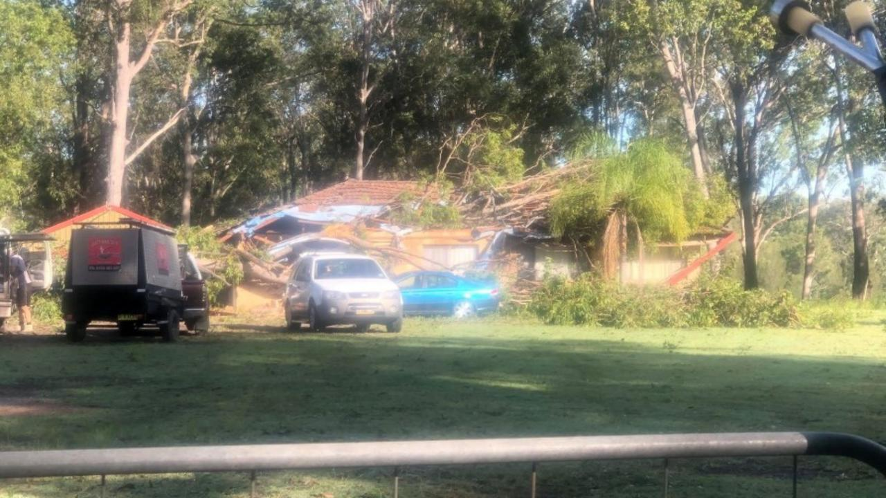 DEVASTATING: A large gum tree crush a home at Clarenza on Monday night, leaving a family of five homeless.