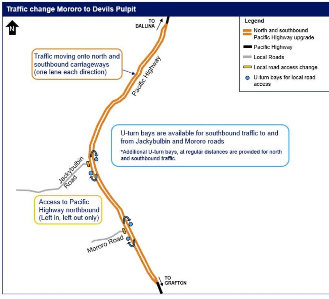 New traffic arrangements north of the Iluka turn-off.