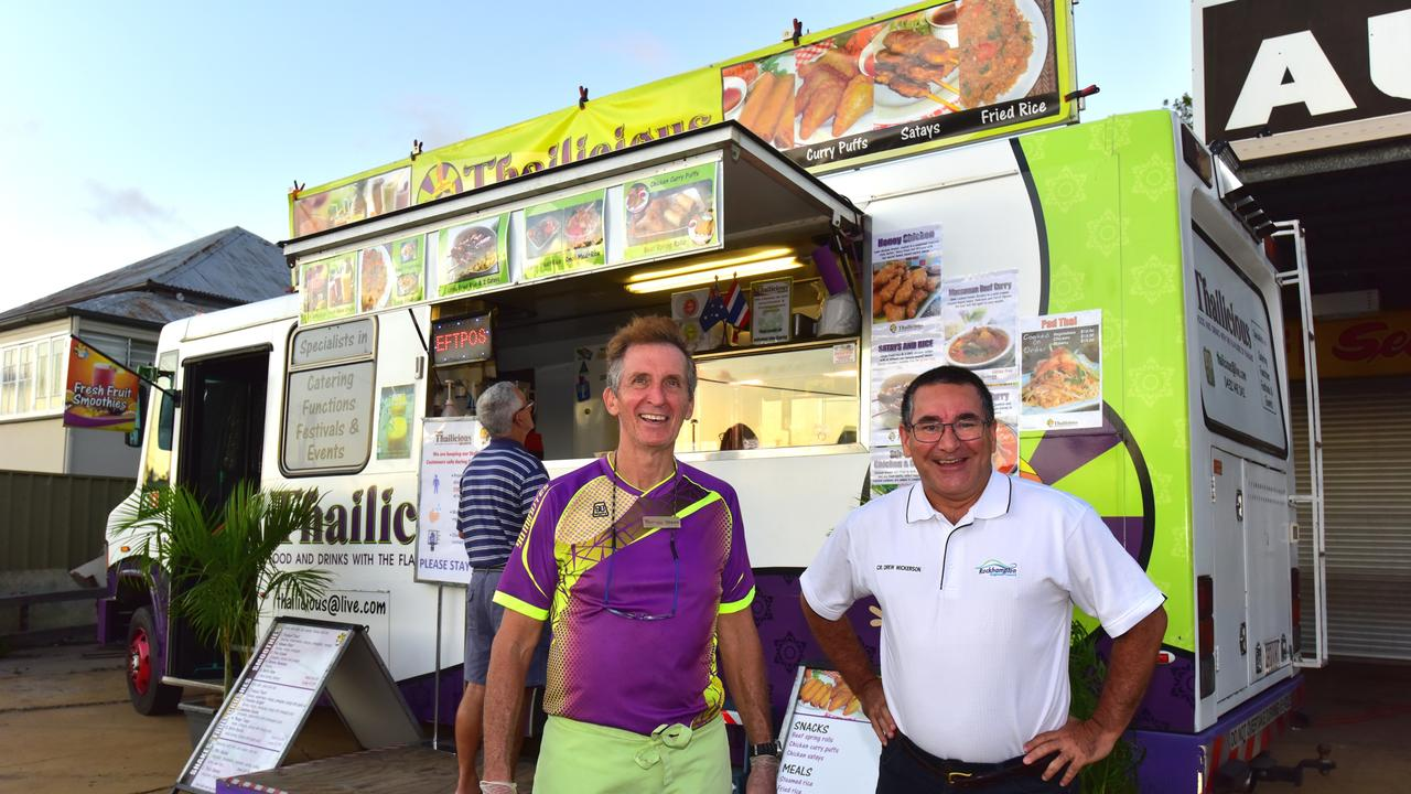 Steve Seaman from Thailicious, pictured with councillor Drew Wickerson, who has set up a 'pop-up' take away to keep trading while events are cancelled.